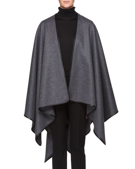 Shane Open-Front Wool Poncho With Leather Piping in Dark Gray