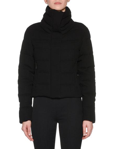 High-Neck Matte Wool Short Puffer Jacket