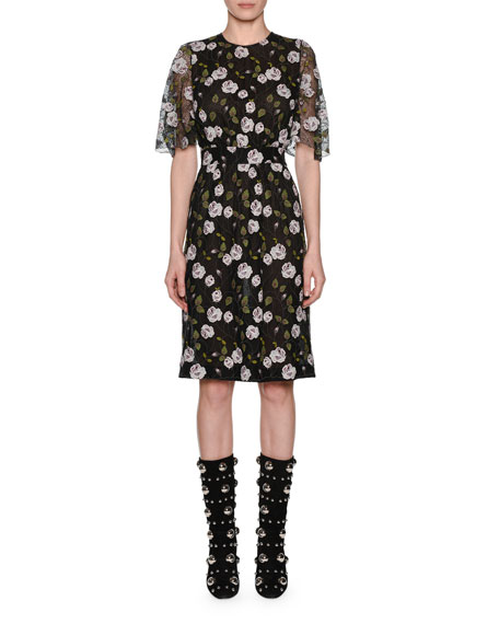 GIAMBATTISTA VALLI Cape-Effect Floral-Print Cotton Blend-Lace Midi Dress in Black
