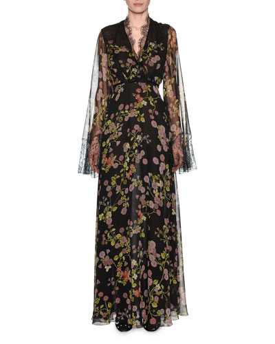 V-Neck Long-Sleeve Floral-Print Silk Evening Gown w/ Lace