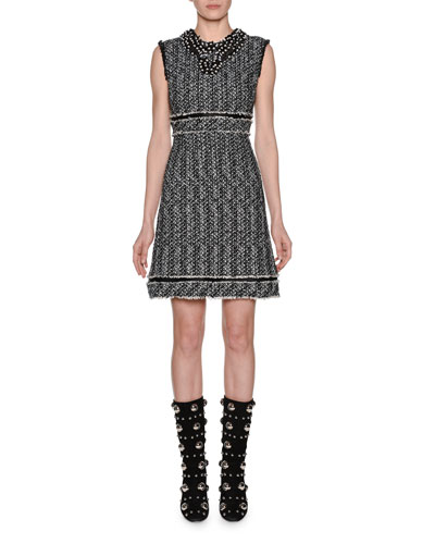 Sleeveless A-Line Tweed Dress w/ Pearlescent Trim