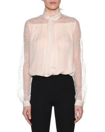 Tie-Neck Long-Sleeve Silk Blouse
