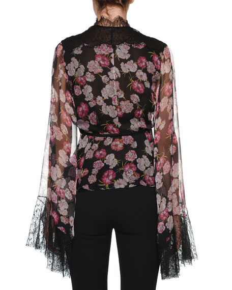 V-Neck Bell-Sleeve Floral-Print Silk Blouse w/ Wrap Belt & Lace Trim