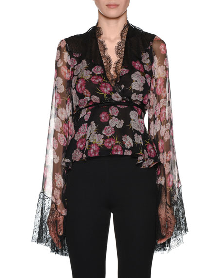 GIAMBATTISTA VALLI V-Neck Bell-Sleeve Floral-Print Silk Blouse W/ Wrap Belt & Lace Trim in Black