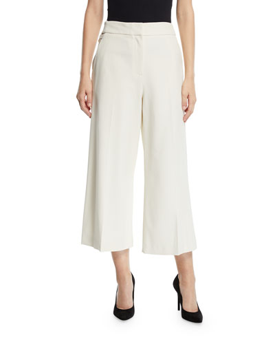 Mid-Rise Wide-Leg Cropped Culottes