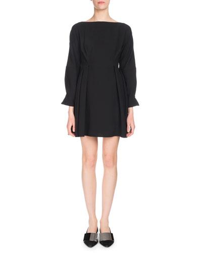 Long-Sleeve Cinched-Waist Textured Crepe Mini Dress