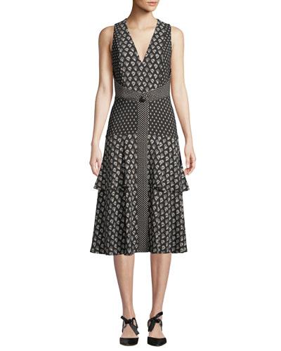 V-Neck Sleeveless Mixed-Print A-Line Midi Dress