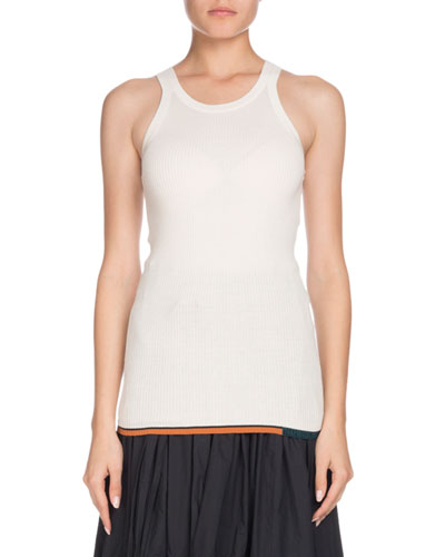 Crewneck Sleeveless Silk/Cashmere Knit Top