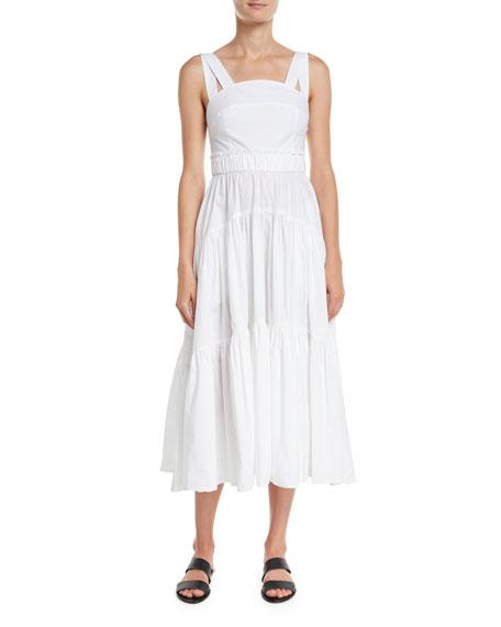 Sleeveless 3-Tier Long Cotton Poplin Dress