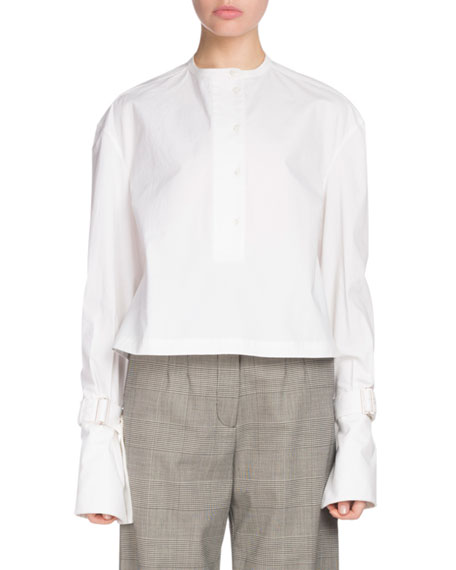 Button-Down Long-Sleeve Cotton Poplin Top in White