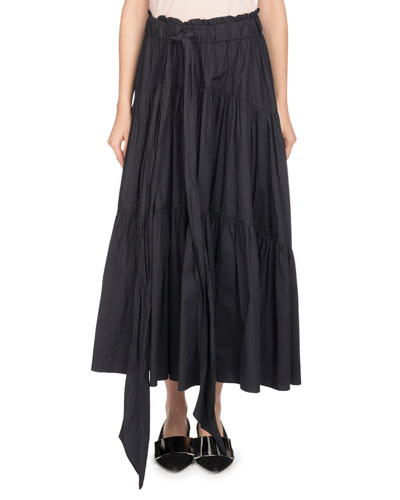 Long Tiered Poplin A-Line Skirt