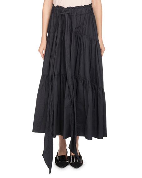Long Tiered Poplin A-Line Skirt in Black