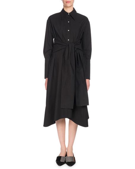 Proenza Schouler Long-Sleeve Button-Down Cotton Midi Dress
