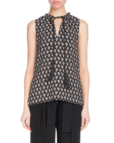 Sleeveless Floral-Print Tunic Top with Leather Ties