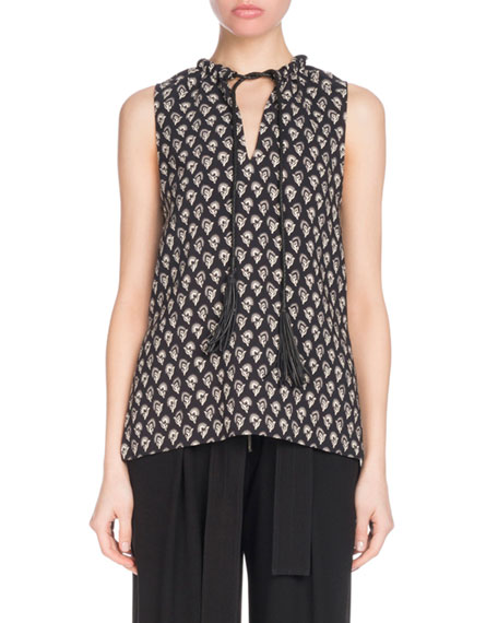 Sleeveless Floral-Print Tunic Top With Leather Ties in Black