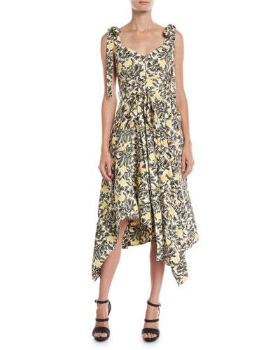 Sweetheart-Neck Tie-Straps Paisley Floral-Print Midi Dress