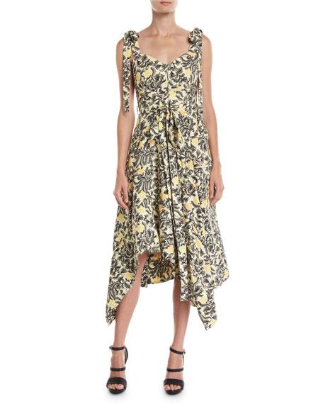 fd6cd802dd76 Proenza Schouler Sweetheart-Neck Tie-Straps Paisley Floral-Print Midi Dress