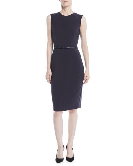 Sleeveless Stretch-Wool Sheath Dress W/ Leather Belt in Blue