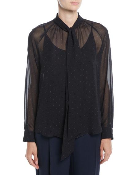 9f71dda9ae8088 Maxmara Tago Tie-Neck Long-Sleeve Dot-Print Silk Blouse and Matching ...