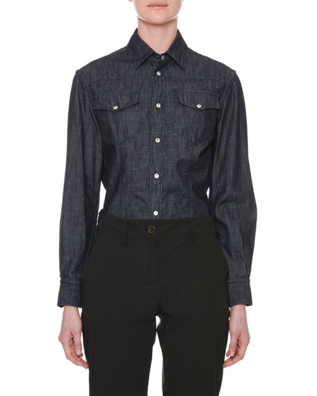 Long-Sleeve Button-Down Denim Shirt