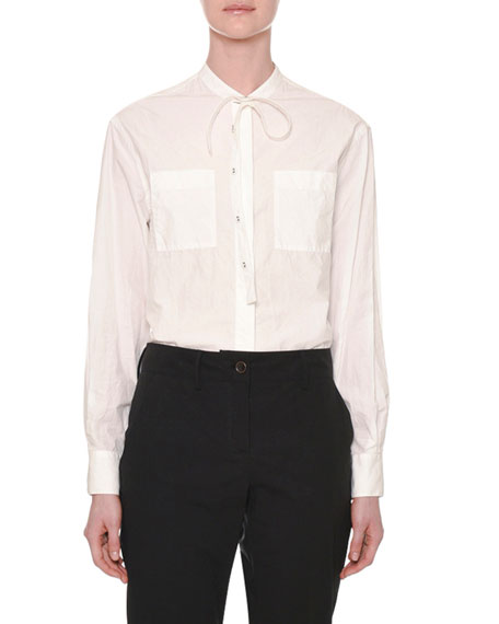 Long-Sleeve Tie-Neck Button-Front Cotton Shirt