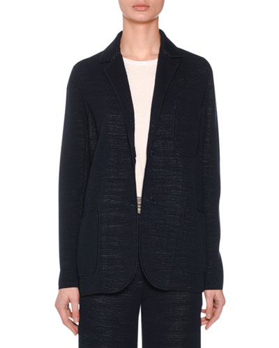 Two-Button Unstructured Fitted Striped Jacket and Matching Items