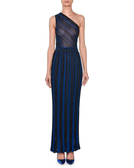 One-Shoulder Striped Metallic Crochet-Knit Gown, Navy