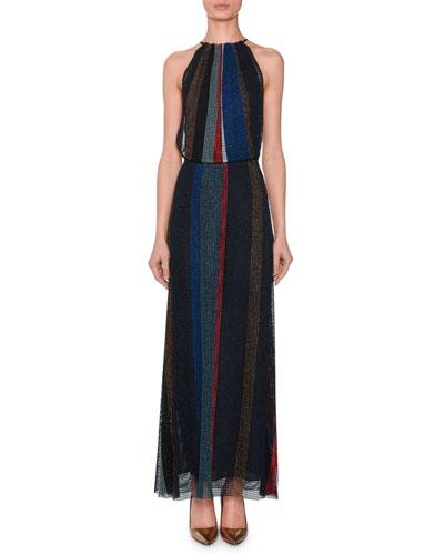 Sleeveless Halter Metallic-Striped Evening Gown