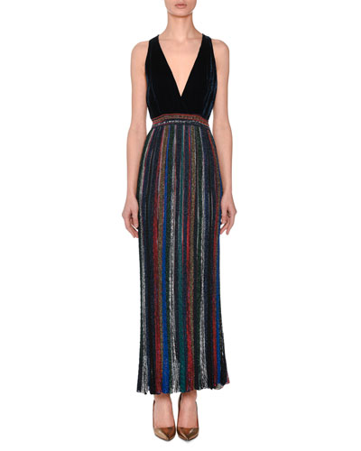 Deep-V Sleeveless Velvet-Top Striped Metallic Evening Gown
