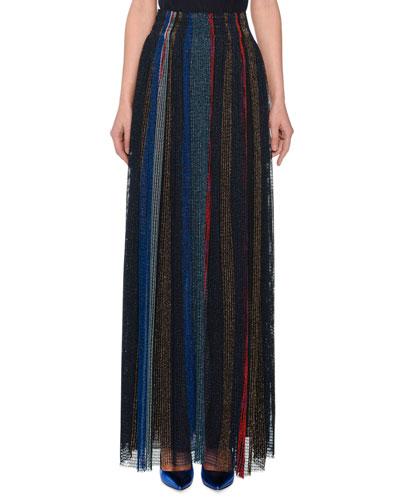 Striped-Metallic Long Skirt