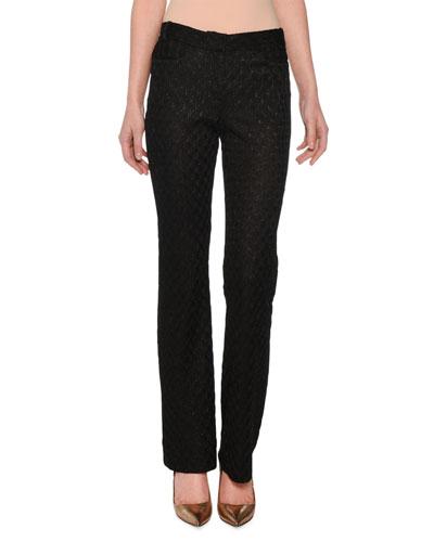 Straight-Leg Metallic-Jacquard Pants