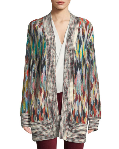 Open-Front Multicolor Oversized Cashmere-Blend Cardigan