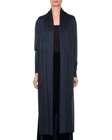 Open-Front Long-Sleeve Metallic-Knit Cardigan