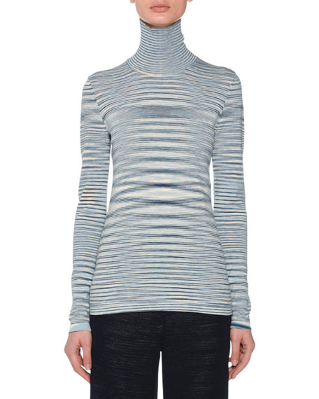 Turtleneck Long-Sleeve Wool Space-Dye Sweater