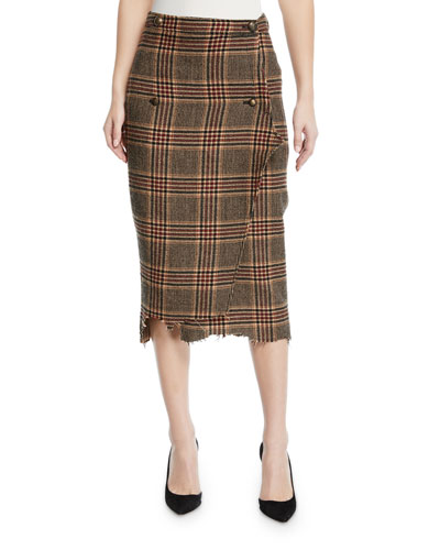 Plaid-Wool Double-Breasted Pencil Skirt