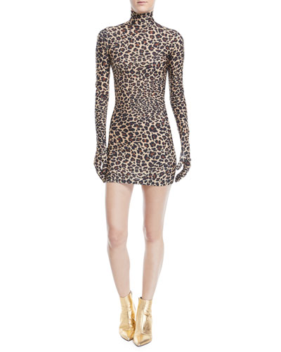 Leopard-Print Glove-Sleeve Mock-Neck Mini Dress