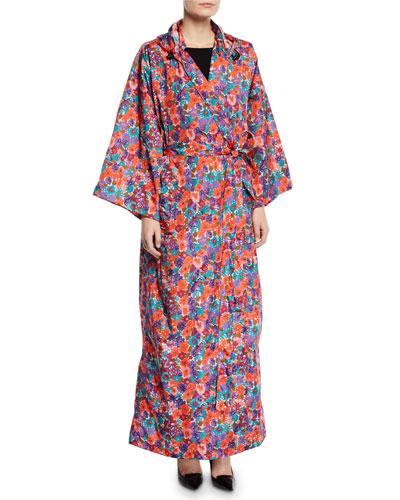 Hooded Floral-Print Kimono Raincoat