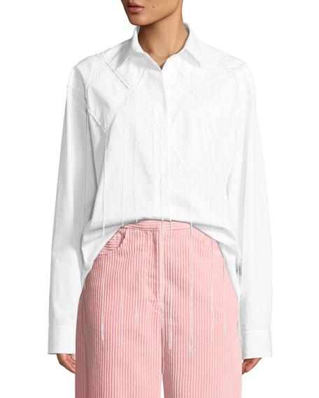 Cedric Charlier Diamond-Applique Long-Sleeve Button-Down Cotton Shirt
