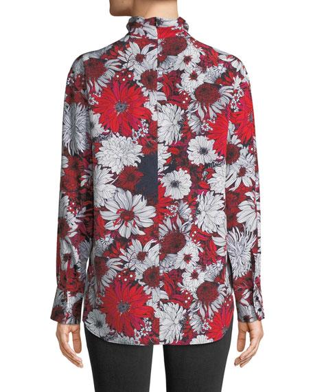 Turtleneck Long-Sleeve Floral-Print Silk Blouse