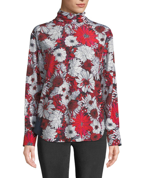 Cedric Charlier TURTLENECK LONG-SLEEVE FLORAL-PRINT SILK BLOUSE