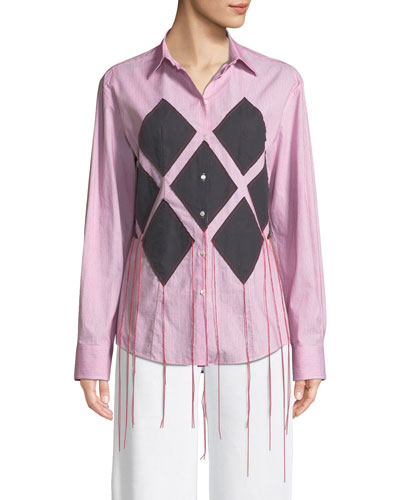Diamond-Applique Long-Sleeve Button-Down Striped Shirt