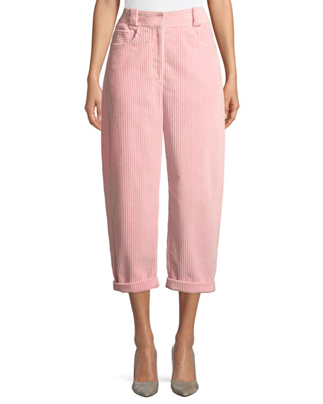 Wide-Leg Crop Corduroy Trousers