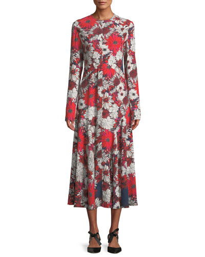 Long-Sleeve Floral-Print A-Line Long Dress