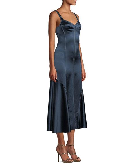 Sweetheart-Neck Sleeveless A-Line Satin Midi Dress w/ Piping