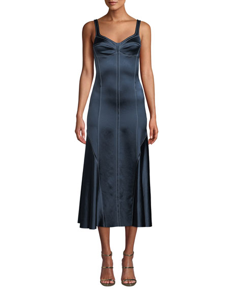 Cedric Charlier Sweetheart-Neck Sleeveless A-Line Satin Midi