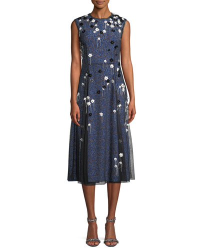 Sleeveless Mesh-Overlay A-Line Silk Cocktail Dress w/ Floral Appliques