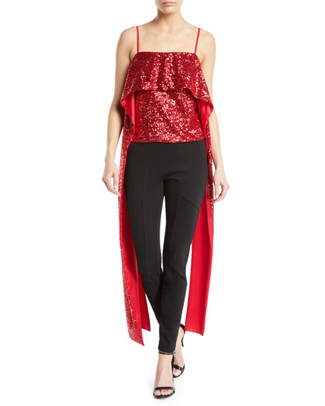 PRABAL GURUNG ALIA SQUARE-NECK CASCADE SEQUINED CAMISOLE TOP
