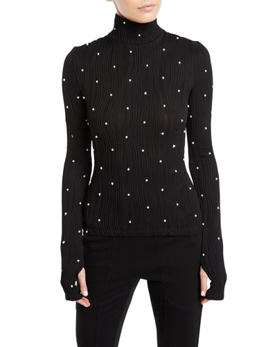 Milo Turtleneck Long-Sleeve Pearlescent Wavy-Ribbed Jersey Top