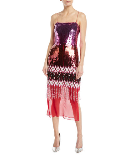 Iliana Ikat-Embroidered Sequined Georgette Cocktail Dress