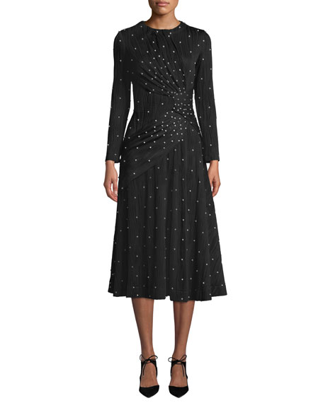 PRABAL GURUNG LUGU LONG-SLEEVE CREWNECK PEARL-RIBBED JERSEY COCKTAIL DRESS